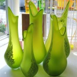 Double Profile Vases Green (Medium)